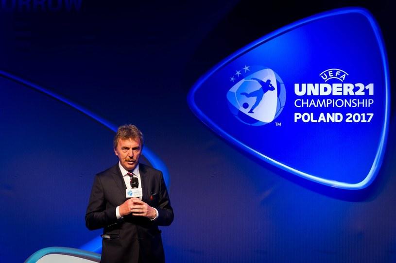 Prezes PZPN - Zbigniew Boniek podczas konferencji poświęconej Euro U-21, które odbędzie w Polsce w 2017 roku /Łukasz Krajewski /