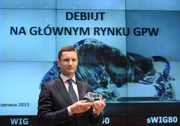 Prezes spółki Braster Marcin Halicki podczas debiutu na Rynku Głównym GPW /PAP