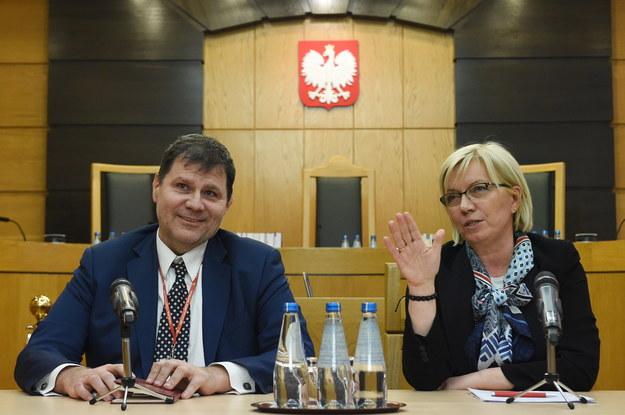 Prezes Trybunału Konstytucyjnego Julia Przyłębska i sędzia TK Mariusz Muszyński /Radek  Pietruszka /PAP