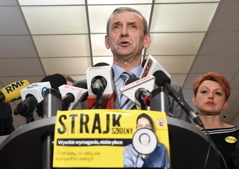 Prezes ZNP Sławomir Broniarz / Radek Pietruszka   /PAP