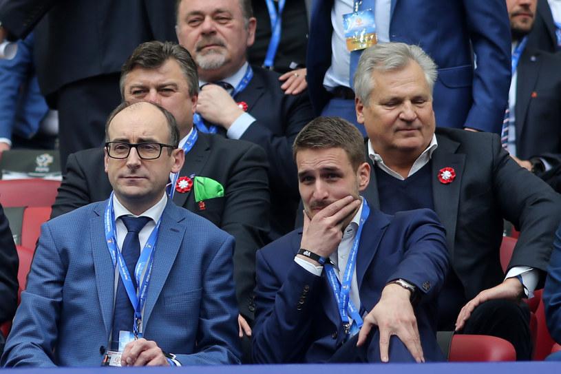Prezesi Lecha Poznań Karol Klimczak i Piotr Rutkowski. A także Aleksander Kwaśniewski /LUKASZ GROCHALA/CYFRASPORT / NEWSPIX.PL /Newspix