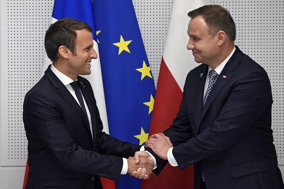 Prezydenci Andrzej Duda i Emmanuel Macron /ERIC FEFERBERG / POOL /PAP/EPA