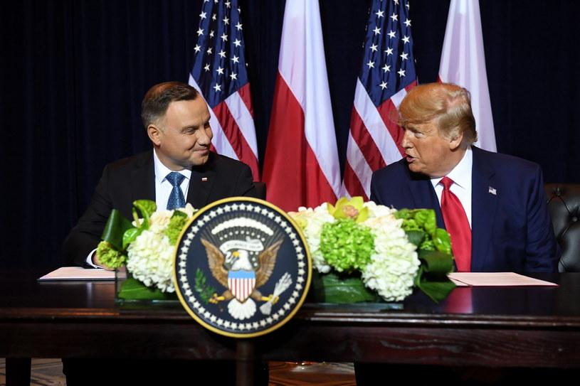 Prezydenci Donald Trump i Andrzej Duda podczas spotkania / Radek Pietruszka   /PAP