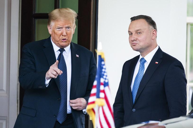 Prezydenci Donald Trump i Andrzej Duda /JIM LO SCALZO /PAP/EPA