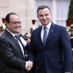 """Prezydenci Duda i Hollande """"w cztery oczy"""""""