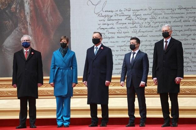 Prezydenci: RP Andrzej Duda, Łotwy Egils Levits , Litwy Gitanas Nauseda, Estonii Kersti Kaljulaid oraz Ukrainy Wołodymyr Zełenski / Leszek Szymański    /PAP/EPA