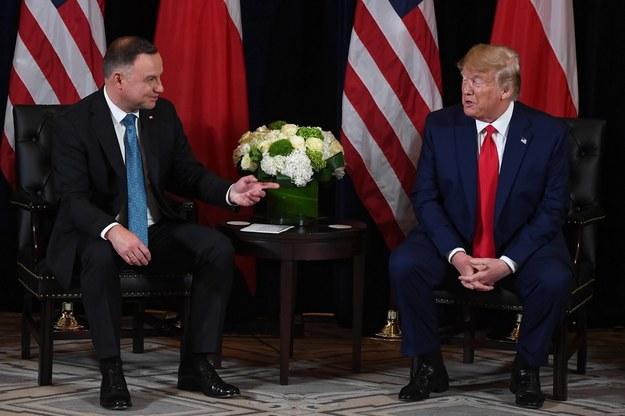 Prezydenci Stanów Zjednoczonych i Polski Andrzej Duda podczas spotkania w Nowym Jorku / Radek Pietruszka   /PAP