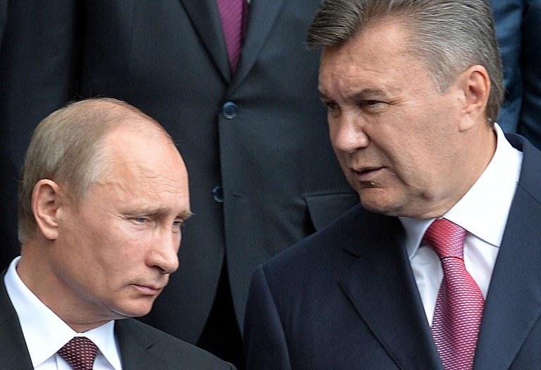 Prezydenci Ukrainy i Rosji Wiktor Janukowycz i Władimir Putin /AFP