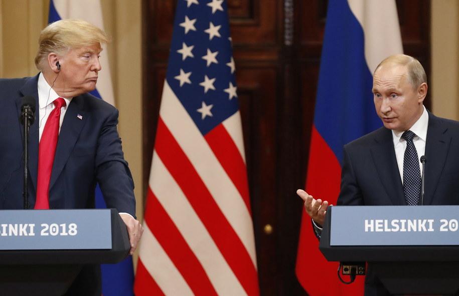 Prezydenci: USA Donald Trump i Rosji Władimir Putin w czasie wspólnej konferencji prasowej /ANATOLY MALTSEV  /PAP/EPA