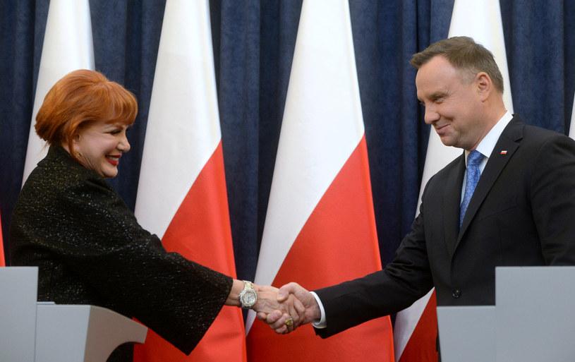Prezydent Andrzej Duda i ambasador USA w Polsce Georgette Mosbacher /Jan Bielecki /East News