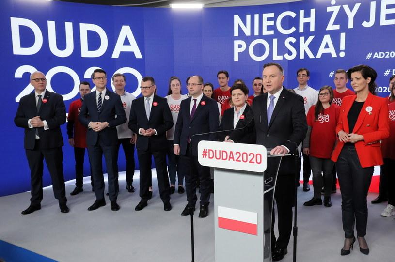 Prezydent Andrzej Duda i jego sztab /Paweł Supernak /PAP