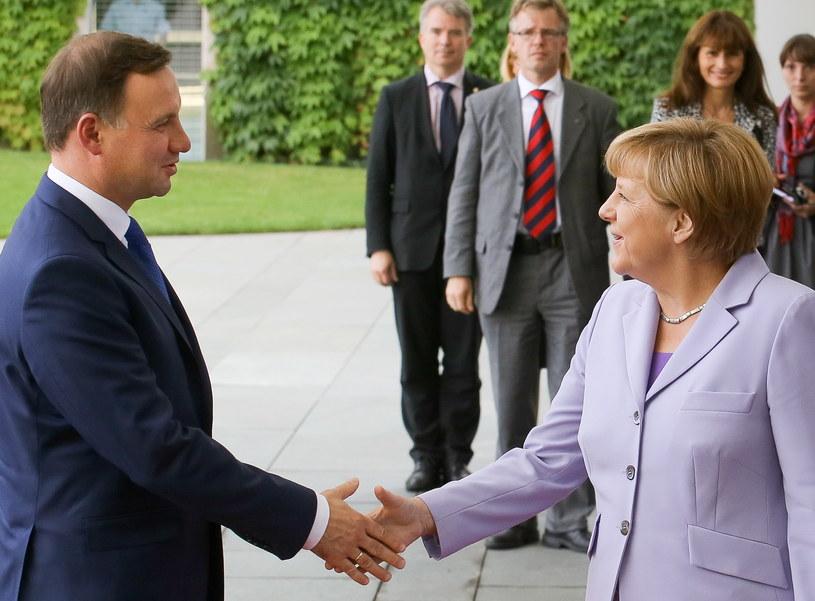 Prezydent Andrzej Duda i kanclerz Angela Merkel /Paweł Supernak /PAP