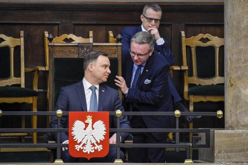 Prezydent Andrzej Duda i Krzysztof Szczerski. Z tyłu Marek Magierowski /Jacek Domiński /Reporter