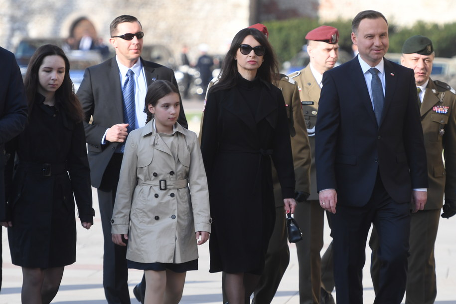 Prezydent Andrzej Duda i Marta Kaczyńska w Krakowie w drodze na Wawel /Jacek Bednarczyk   /PAP