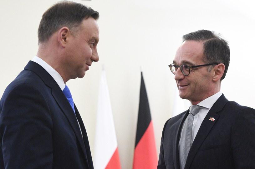 Prezydent Andrzej Duda i minister spraw zagranicznych Niemiec Heiko Maas /PAP