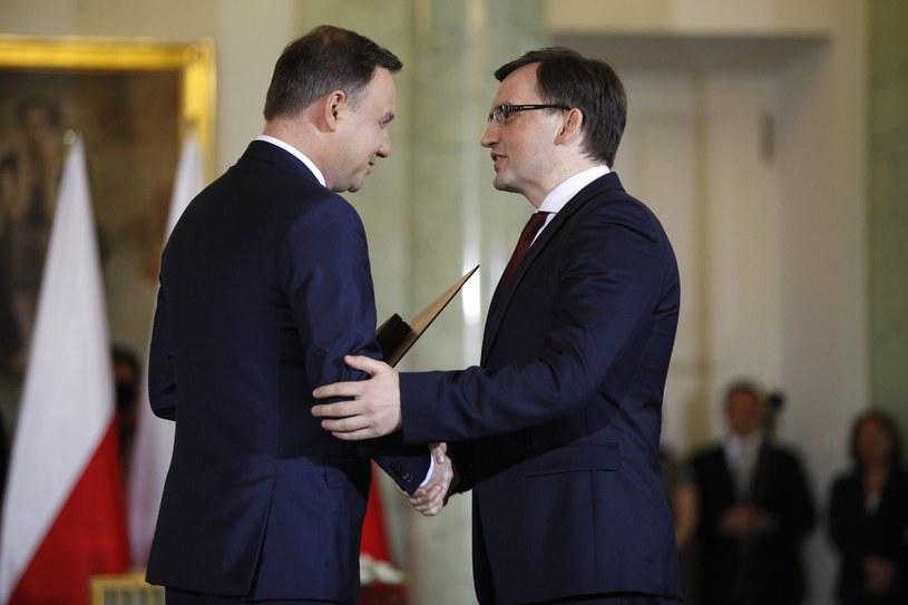 Prezydent Andrzej Duda i minister sprawiedliwości Zbigniew Ziobro /Stefan Maszewski /Reporter