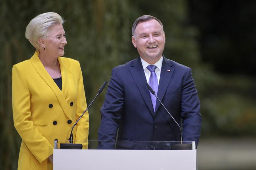 Prezydent Andrzej Duda i pierwsza dama Agata Kornhauser-Duda /Grzegorz Banaszak /Reporter