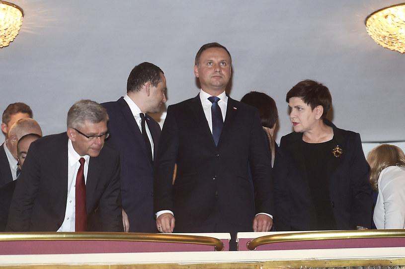 Prezydent Andrzej Duda i premier Beata Szydło /Niemiec /AKPA