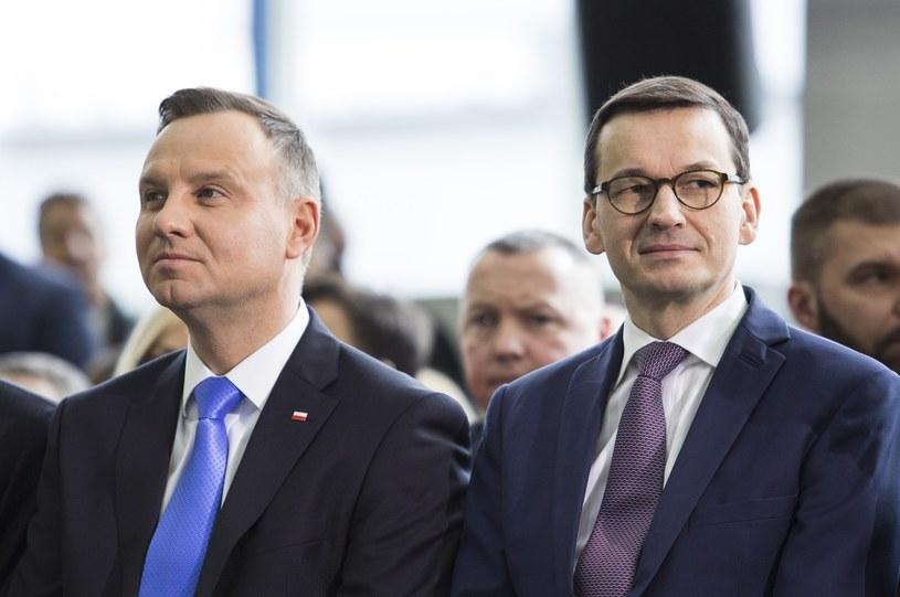 Prezydent Andrzej Duda i premier Mateusz Morawiecki /Andrzej Hulimka  /East News