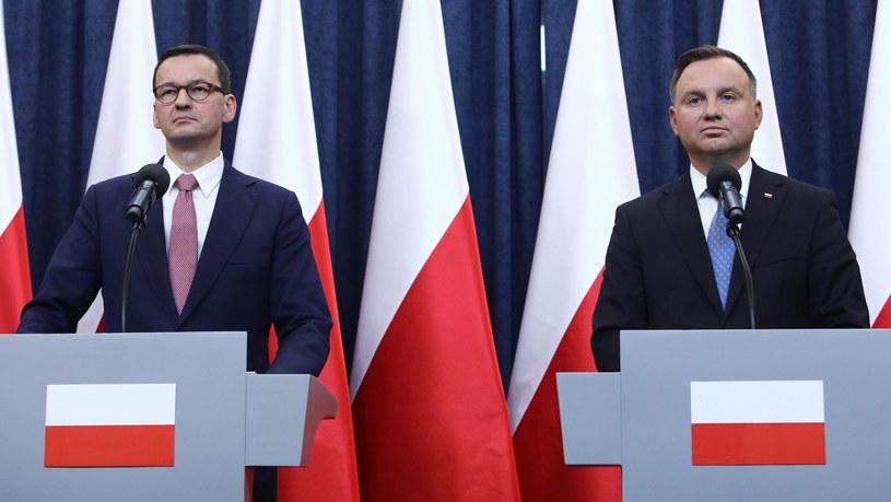 Prezydent Andrzej Duda i premier Mateusz Morawiecki /Fot Tomasz Jastrzebowski /Reporter