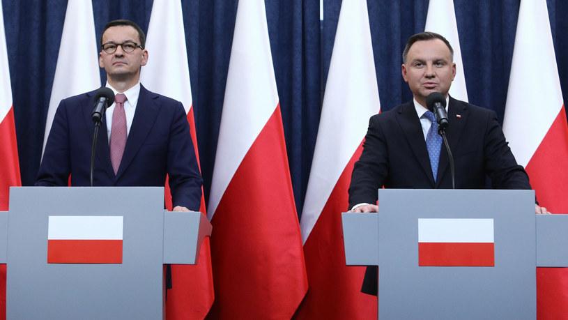 Prezydent Andrzej Duda i premier Mateusz Morawiecki /Tomasz Jastrzębowski /Reporter