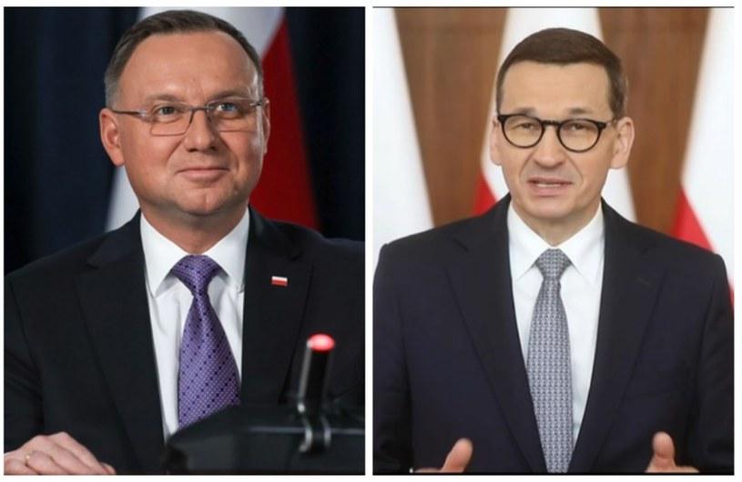 Prezydent Andrzej Duda i premier Mateusz Morawiecki /KPRM/Jakub Szymczuk/Polsat News /