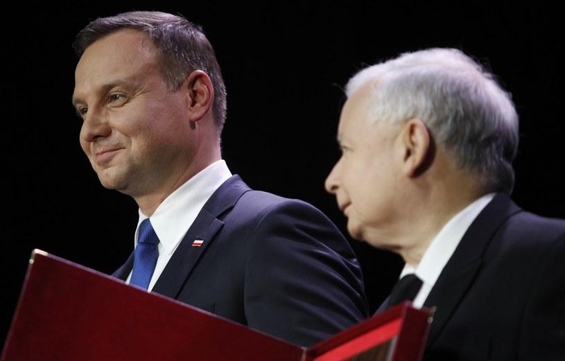 Prezydent Andrzej Duda i prezes Jarosław Kaczyński /Stefan Maszewski /Reporter
