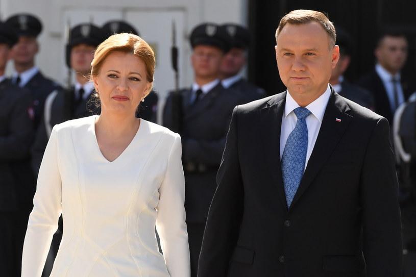 Prezydent Andrzej Duda i prezydent Republiki Słowackiej Zuzana Czaputovą /Piotr Nowak /PAP