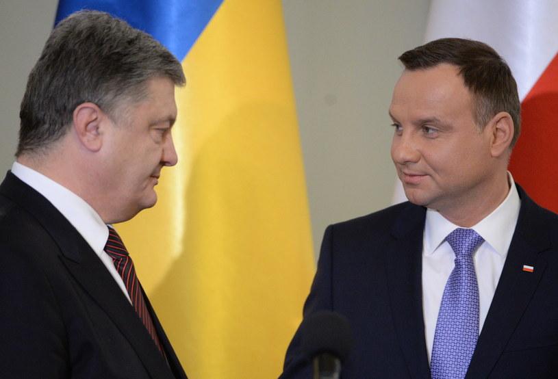 Prezydent Andrzej Duda i prezydent Ukrainy Petro Poroszenko /Jacek Turczyk /PAP