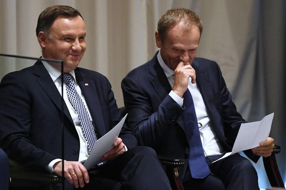 Prezydent Andrzej Duda i przewodniczący Rady Europejskiej Donald Tusk na sesji ONZ w Nowym Jorku we wrześniu 2018 roku / Radek Pietruszka   /PAP