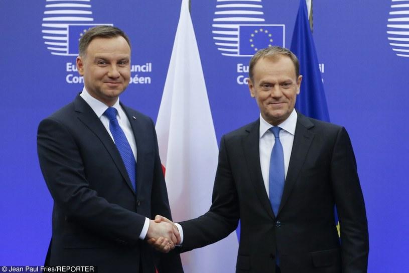 Prezydent Andrzej Duda i przewodniczący Rady Europejskiej po spotkaniu w Brukseli /Jean Paul Fries/REPORTER /East News
