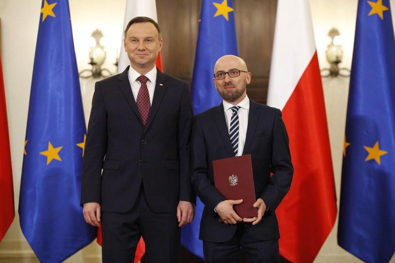 Prezydent Andrzej Duda i rzecznik prezydenta Krzysztof Łapiński /Stefan Maszewski /Reporter