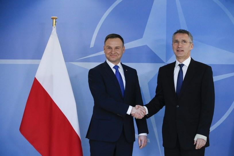 Prezydent Andrzej Duda i sekretarz generalny NATO Jens Soltenberg /EPA/OLIVIER HOSLET /PAP/EPA