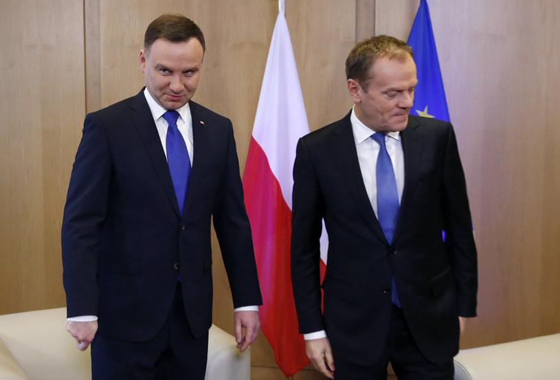 Prezydent Andrzej Duda i szef Rady Europejskiej Donald Tusk /FRANCOIS LENOIR / POOL /AFP