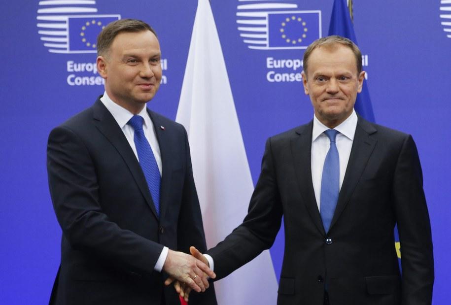 Prezydent Andrzej Duda i szef Rady Europejskiej Donald Tusk /OLIVIER HOSLET /PAP/EPA