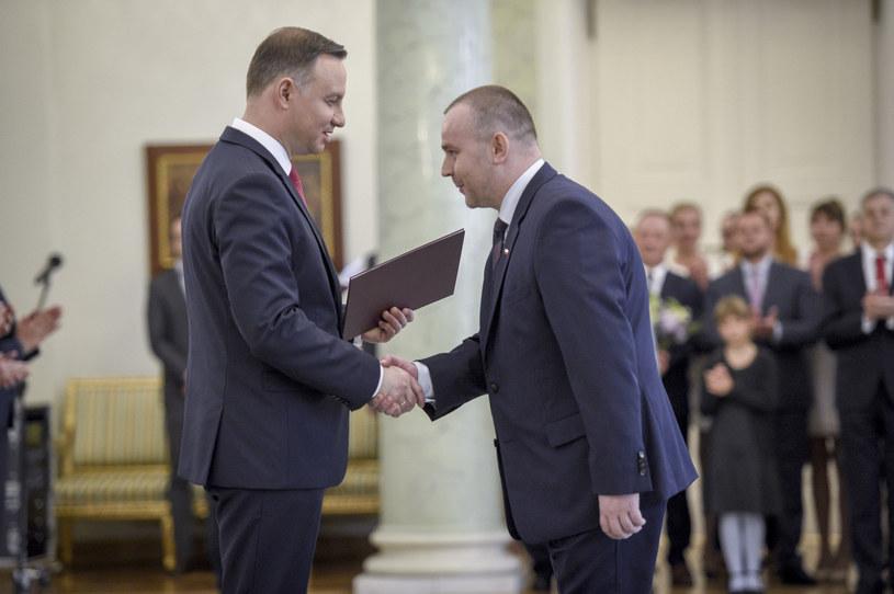 Prezydent Andrzej Duda i wiceszef Kancelarii Prezydenta Paweł Mucha /Jacek Domiński /Reporter