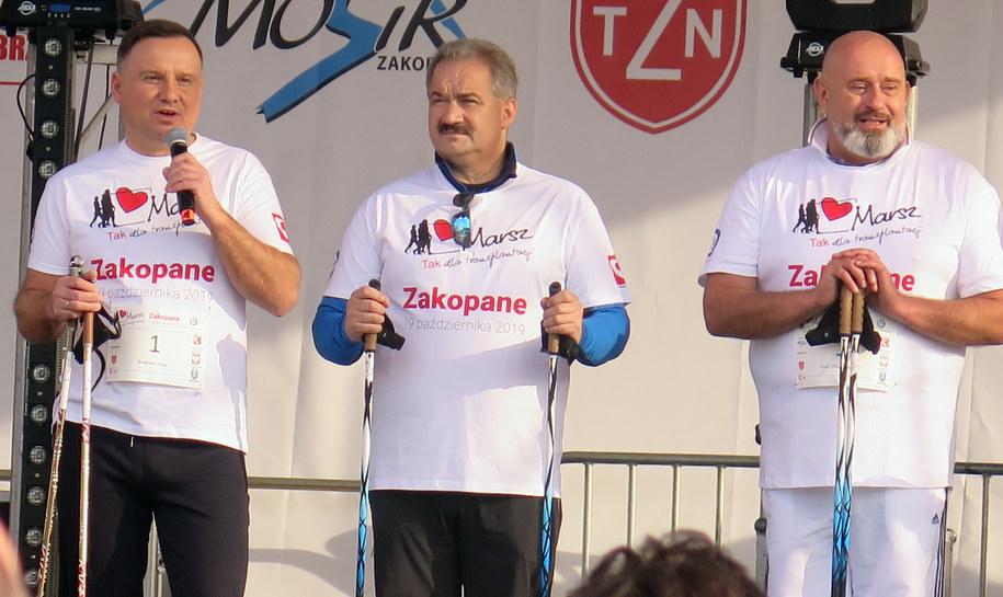 """Prezydent Andrzej Duda na marsz """"Tak dla transplantacji"""" /Maciej Pałahicki /RMF FM"""