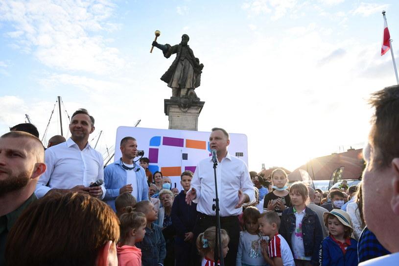 Prezydent Andrzej Duda na Pikniku Rodzinnym w Tykocinie /Michał Zieliński  /PAP
