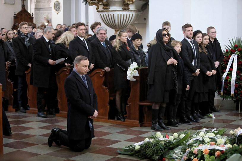 Prezydent Andrzej Duda na pogrzebie Pawła Królikowskiego / Leszek Szymański    /PAP
