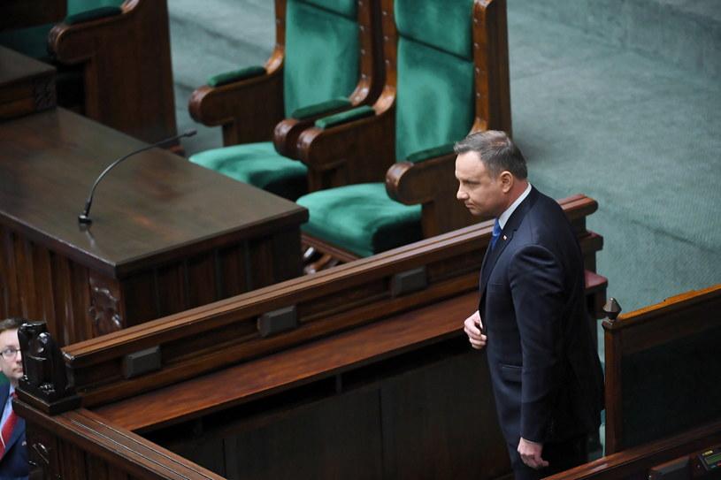 Prezydent Andrzej Duda na sali sejmowej / Leszek Szymański    /PAP