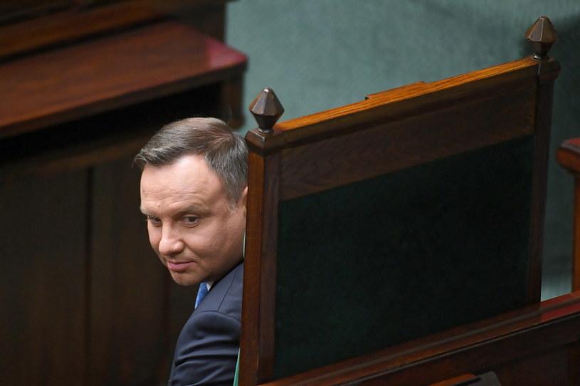 Prezydent Andrzej Duda na sali sejmowej / Radek Pietruszka   /PAP