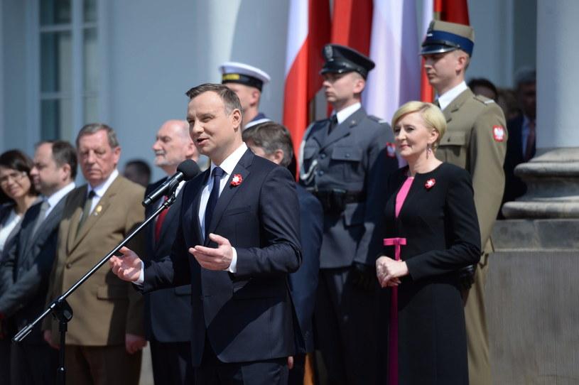 Prezydent Andrzej Duda na uroczystościach z okazji 3 maja /Jacek Turczyk /PAP