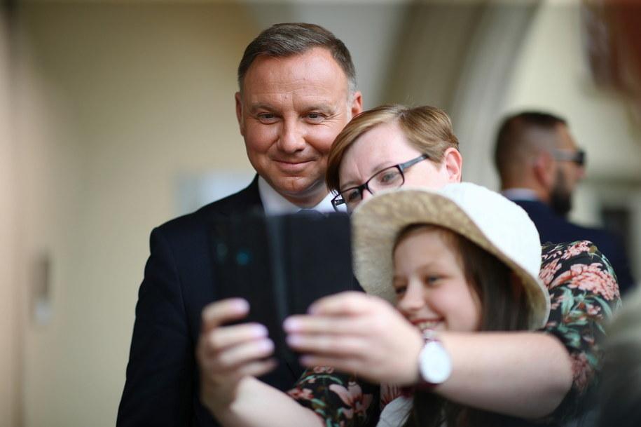 Prezydent Andrzej Duda na zdjęciu w trakcie wizyty w Krakowie //Łukasz Gągulski /PAP