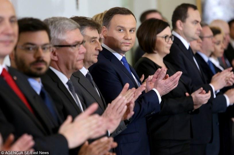 Prezydent Andrzej Duda, obok szefowa jego kancelarii Małgorzata Sadurska /Tomasz Radzik / Agencja SE /Agencja SE/East News