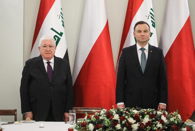 Prezydent Andrzej Duda oraz prezydent Iraku Mohammed Fuad Masum Khader /Paweł Supernak /PAP
