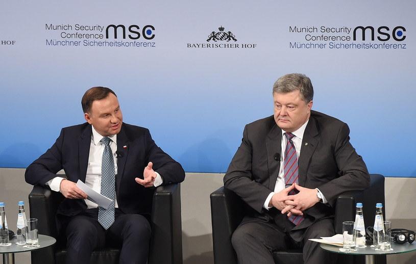 Prezydent Andrzej Duda oraz prezydent Ukrainy Petro Poroszenko /Radek Pietruszka /PAP
