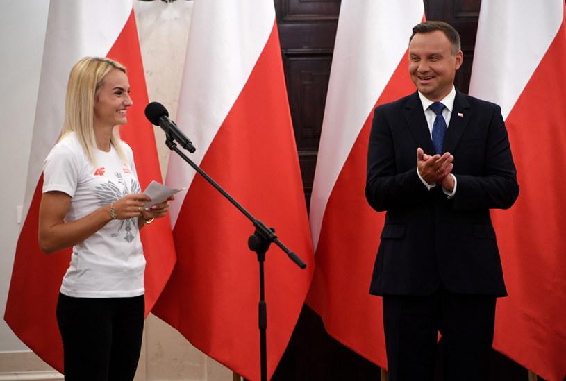Prezydent Andrzej Duda (P) i Justyna Święty-Ersetic /Radek Pietruszka /PAP