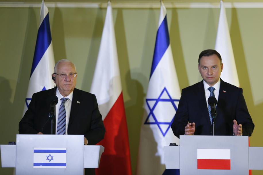 Prezydent Andrzej Duda (P) i prezydent Izraela Reuven Riwlin (L) podczas oświadczenia dla mediów po spotkaniu / Andrzej Grygiel /PAP