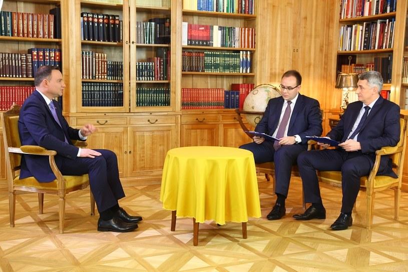 Prezydent Andrzej Duda, Paweł Czuryło i Krzysztof Fijałek /INTERIA.PL