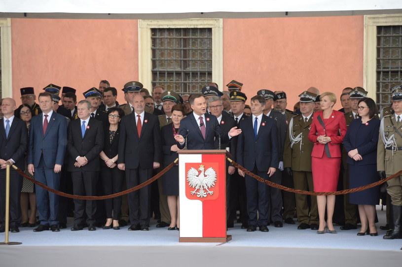 Prezydent Andrzej Duda podczas centralnych obchodów Święta Narodowego 3 Maja /Jacek Turczyk /PAP